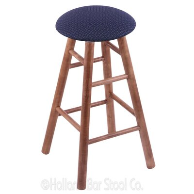 24 Swivel Bar Stool Upholstery: Axis Denim, Finish: Medium Maple