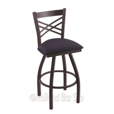 Catalina 25 Swivel Bar Stool Finish: Black Wrinkle, Upholstery: Axis Denim