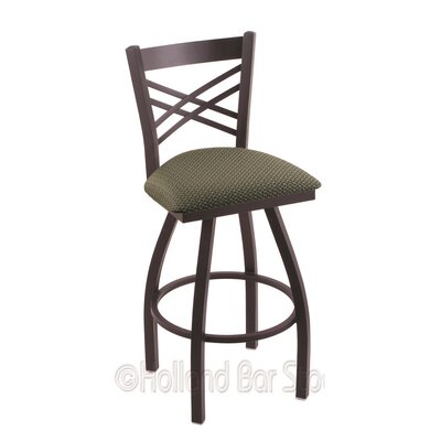 Catalina 30 Swivel Bar Stool Finish: Black Wrinkle, Upholstery: Axis Grove