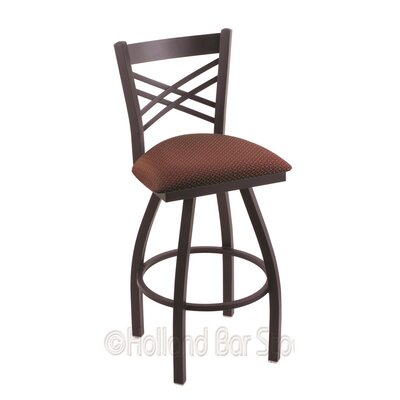 Catalina 30 Swivel Bar Stool Finish: Black Wrinkle, Upholstery: Axis Paprika