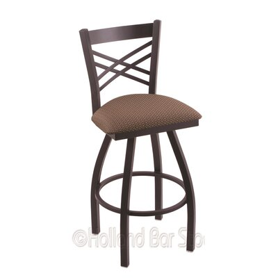 Catalina 25 Swivel Bar Stool Finish: Black Wrinkle, Upholstery: Axis Willow