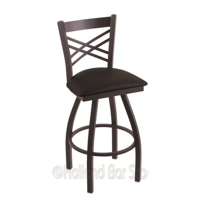 Catalina 30 Swivel Bar Stool Finish: Black Wrinkle, Upholstery: Black Vinyl