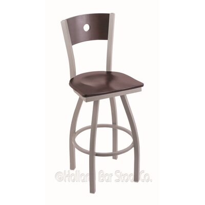 Voltaire 36 Swivel Bar Stool Base Finish: Anodized Nickel, Upholstery: Dark Cherry Maple