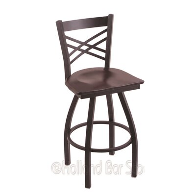 Catalina 25 Swivel Bar Stool Upholstery: Dark Cherry Maple, Base Finish: Black Wrinkle