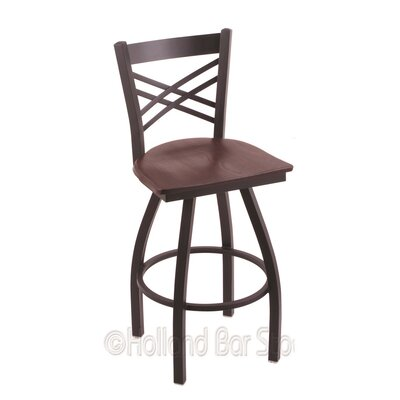 Catalina 36 Swivel Bar Stool Base Finish: Black Wrinkle, Upholstery: Dark Cherry Oak
