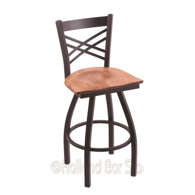 Catalina 25 Swivel Bar Stool Base Finish: Black Wrinkle, Upholstery: Medium Maple