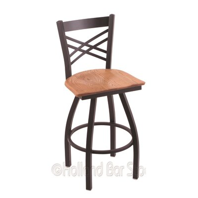 Catalina 25 Swivel Bar Stool Upholstery: Medium Oak, Base Finish: Black Wrinkle