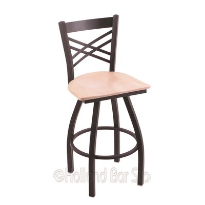 Catalina 30 Swivel Bar Stool Base Finish: Black Wrinkle, Upholstery: Natural Maple