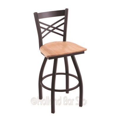 Catalina 30 Swivel Bar Stool Base Finish: Black Wrinkle, Upholstery: Natural Oak