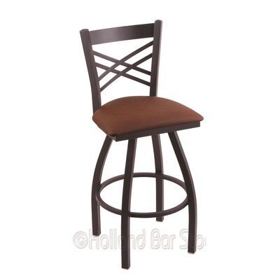 Catalina 25 Swivel Bar Stool Finish: Black Wrinkle, Upholstery: Rein Adobe
