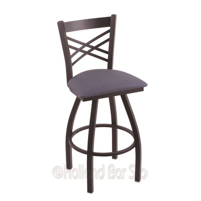 Catalina 30 Swivel Bar Stool Finish: Black Wrinkle, Upholstery: Rein Bay