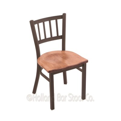 Contessa Solid Wood Dining Chair Base Finish: Bronze, Upholstery: Medium Maple