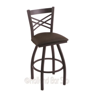 Catalina 30 Swivel Bar Stool Finish: Black Wrinkle, Upholstery: Rein Coffee