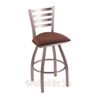 Jackie 25 inch Swivel Bar Stool Finish: Stainless, Upholstery: Axis Paprika