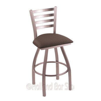 Jackie 25 Swivel Bar Stool Upholstery: Axis Truffle, Finish: Stainless