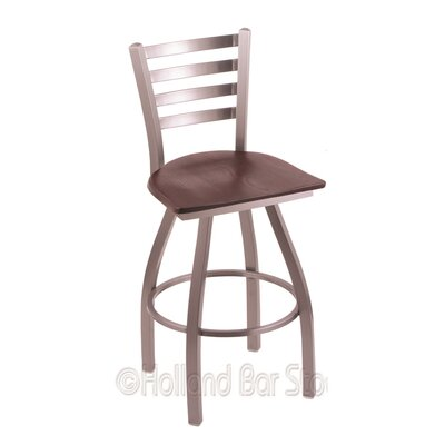 Jackie 36 Swivel Bar Stool Upholstery: Dark Cherry Oak, Base Finish: Stainless