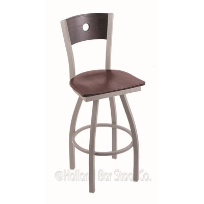 Voltaire 25 Swivel Bar Stool Base Finish: Anodized Nickel, Upholstery: Dark Cherry Oak