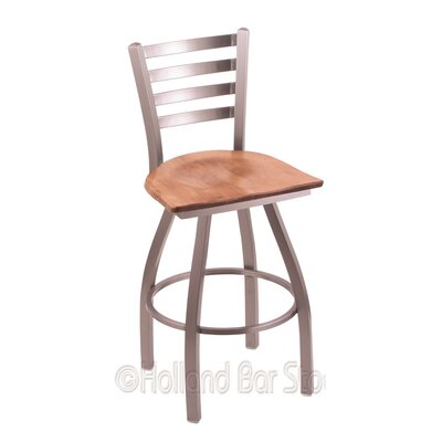 Jackie 30 Swivel Bar Stool Upholstery: Medium Maple, Base Finish: Stainless