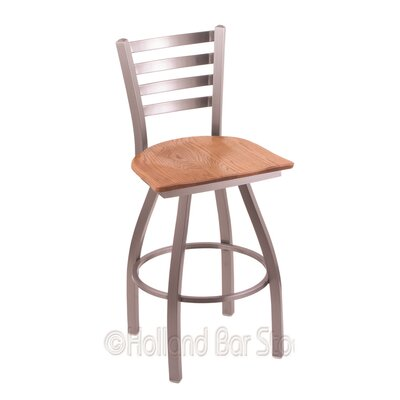Jackie 25 Swivel Bar Stool Base Finish: Stainless, Upholstery: Medium Oak