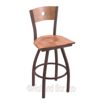 Voltaire 30 inch Swivel Bar Stool Upholstery: Medium Maple, Base Finish: Bronze