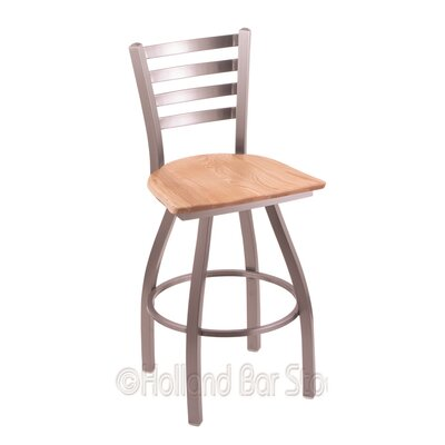Jackie 30 Swivel Bar Stool Upholstery: Natural Oak, Base Finish: Stainless