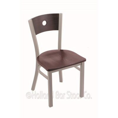 Voltaire Solid Wood Dining Chair Base Finish: Anodized Nickel, Upholstery: Dark Cherry Oak