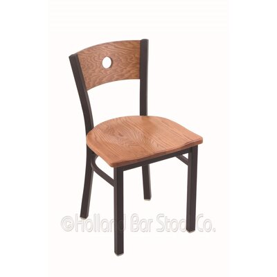Voltaire Solid Wood Dining Chair Base Finish: Black Wrinkle, Upholstery: Medium Oak