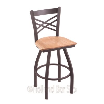 Catalina 25 Swivel Bar Stool Base Finish: Pewter, Upholstery: Natural Oak