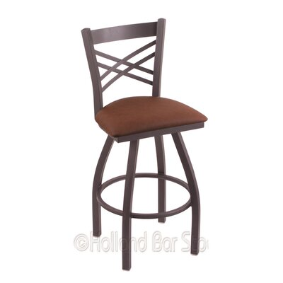Catalina 25 Swivel Bar Stool Finish: Pewter, Upholstery: Rein Adobe