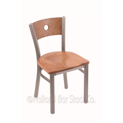 Voltaire Side Chair Base Finish: Stainless, Upholstery: Medium Oak