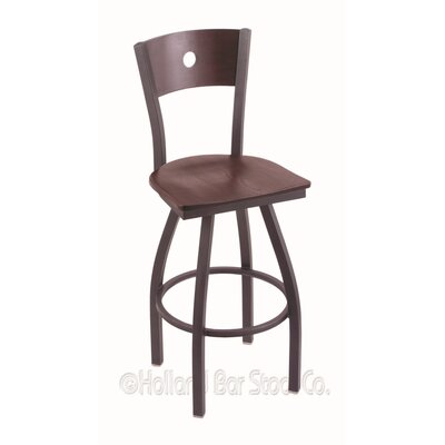 Voltaire 25 Swivel Bar Stool Upholstery: Dark Cherry Oak, Base Finish: Pewter