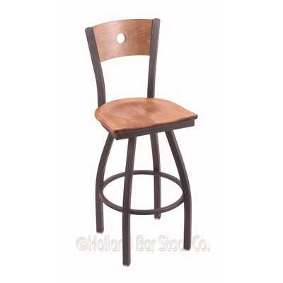 Voltaire 30 Swivel Bar Stool Base Finish: Pewter, Upholstery: Medium Maple