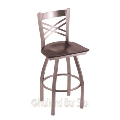 Catalina 30 Swivel Bar Stool Upholstery: Dark Cherry Maple, Base Finish: Stainless