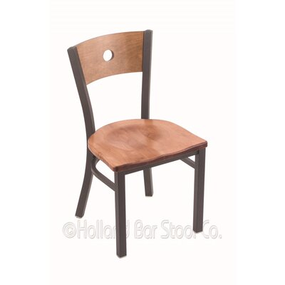 Voltaire Solid Wood Dining Chair Upholstery: Medium Maple, Base Finish: Pewter
