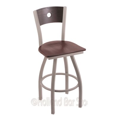 Voltaire 25 Swivel Bar Stool Upholstery: Dark Cherry Oak, Base Finish: Anodized Nickel