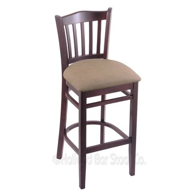 25 Bar Stool Finish: Dark Cherry, Upholstery: Allante Dark Blue