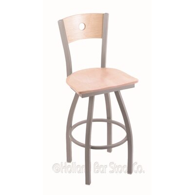 Voltaire 30 Swivel Bar Stool Base Finish: Anodized Nickel, Upholstery: Natural Maple