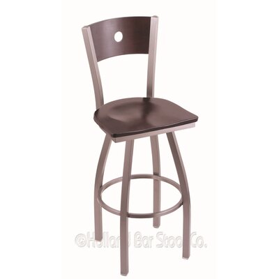 Voltaire 25 Swivel Bar Stool Base Finish: Stainless, Upholstery: Dark Cherry Maple