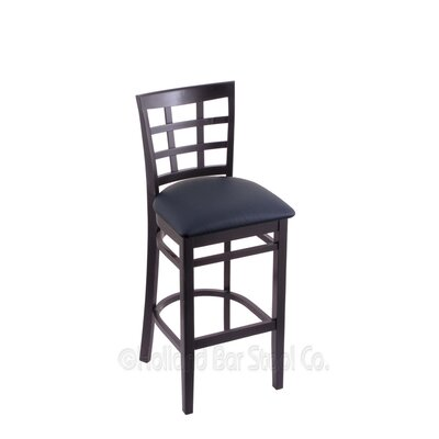 25 inch Bar Stool Finish: Black, Upholstery: Allante Dark Blue