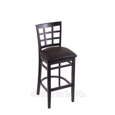 30 Bar Stool Upholstery: Allante Espresso, Finish: Black