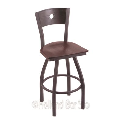 Voltaire 30 Swivel Bar Stool Base Finish: Pewter, Upholstery: Dark Cherry Oak