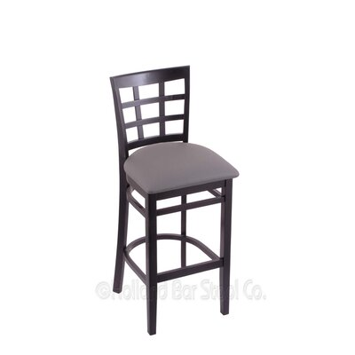 30 Bar Stool Upholstery: Allante Medium Grey, Finish: Black