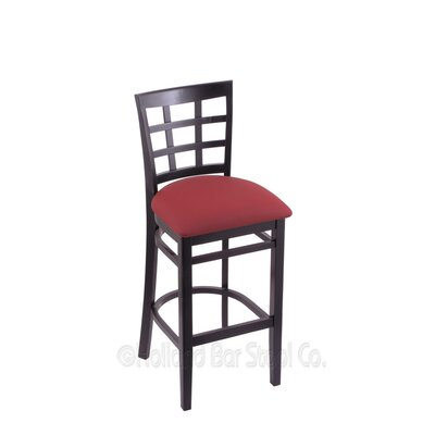 25 Bar Stool Upholstery: Allante Wine, Finish: Black