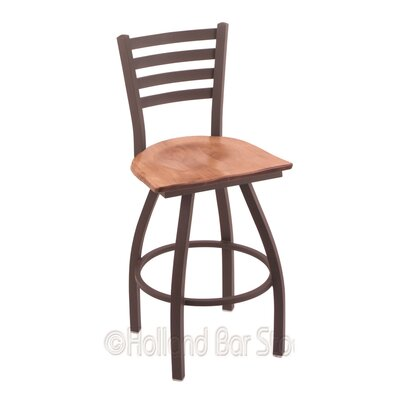 Jackie 30 Swivel Bar Stool Base Finish: Bronze, Upholstery: Medium Maple