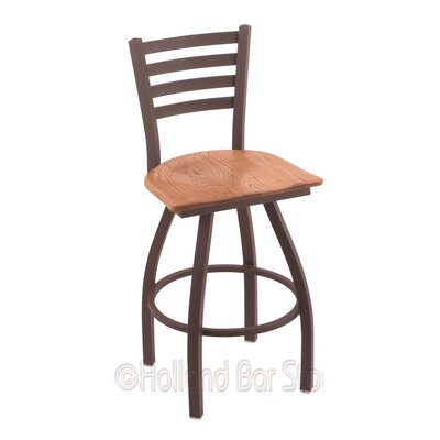 Jackie 30 Swivel Bar Stool Base Finish: Bronze, Upholstery: Medium Oak