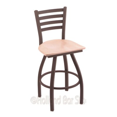 Jackie 36 inch Swivel Bar Stool Base Finish: Bronze, Upholstery: Natural Maple