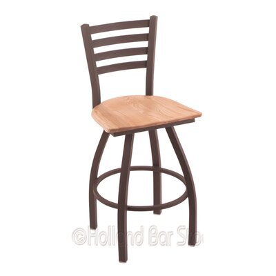 Jackie 36 Swivel Bar Stool Upholstery: Natural Oak, Base Finish: Bronze