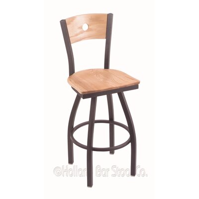 Voltaire 36 Swivel Bar Stool Base Finish: Pewter, Upholstery: Natural Oak