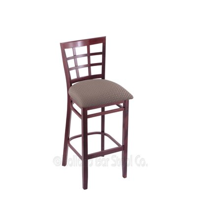 30 Bar Stool Finish: Dark Cherry, Upholstery: Axis Truffle