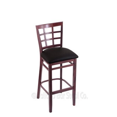 25 Bar Stool Finish: Dark Cherry, Upholstery: Black Vinyl